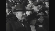 Josephus Daniels with carollers at treasury building Stock Footage