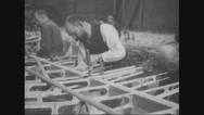 Workers fixing screws on aircraft wing fillets Stock Footage
