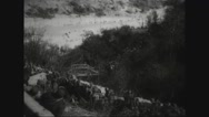Military soldiers climbing up valley Stock Footage