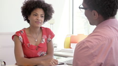 Businesswoman Interviewing Candidate For Job Stock Footage