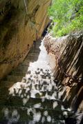 China Huashan Mountain Ancient Stone Stairs 02 Stock Photos