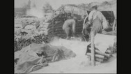 Military soldiers firing under bunker Stock Footage