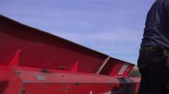 Oat grain planting , manual labor - stock footage