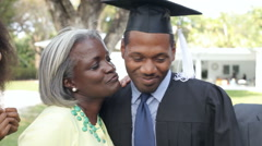 African American Student Celebrates Graduation Stock Footage