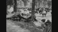 Middlesex infantry and Indian cavalry camping near somme, France Stock Footage