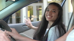 High School Students Being Dropped Off At School By Parents Stock Footage