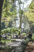tudor city park as midtown manhattan's favorite lunch spot for united nations - stock photo
