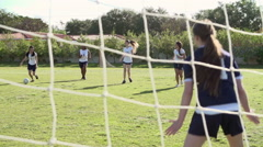 Slow Motion Sequence Of Female High School Soccer Team Match Stock Footage