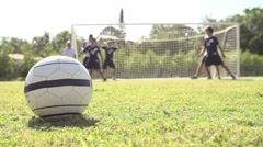 Slow Motion Sequence Of Male School Soccer Team Scoring Goal Stock Footage