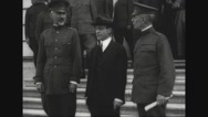 Secretary Newton Diehl Baker posing with Secretary Daniels and Gen. P.C. March Stock Footage