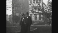 Secretary Robert Lansing strolling with his wife Stock Footage