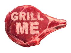 grilling meat - stock illustration