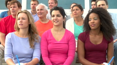 Spectators Watching Outdoor Tennis Match - stock footage