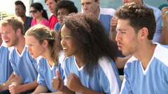 Spectators In Team Colors Watching Sports Event - stock footage