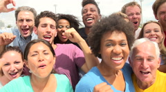 Outdoor Portrait Of Multi-Ethnic Crowd In Slow Motion - stock footage