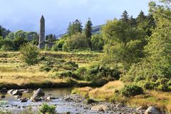 Medieval tower in Wicklow Mountains National Park. - stock photo
