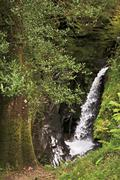 Beautiful waterfall in Wicklow Mountains National Park. - stock photo