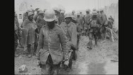 German prisoners carrying the wounded Stock Footage