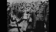 Soldiers displaying captured German arms Stock Footage