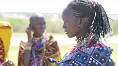 Portrait of Maasai women. Kenya. Africa. Stock Footage