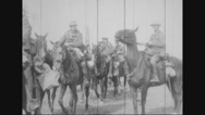 Military soldiers riding horse Stock Footage