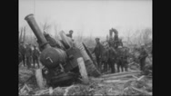 Military soldiers standing near artillery Stock Footage