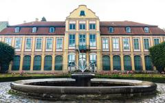 abbots palace in gdansk oliva park. building with fountain - stock photo