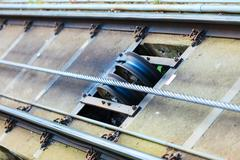 Funicular railway in bergen, norway, climbing mount floyen. Stock Photos