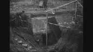 Military soldiers building shelter in the Hindenburg line Stock Footage