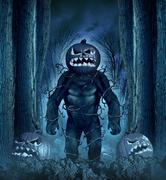 halloween evil monster - stock illustration