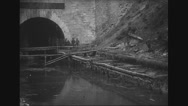 Military soldiers working near a tunnel Stock Footage