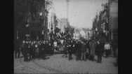 Villagers greeting the British as they enter Lille Stock Footage