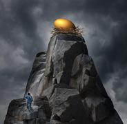 golden nest egg concept - stock illustration