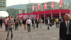 People attend Genoa Boat Show  - stock footage