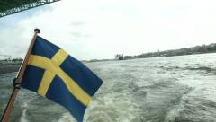 Goteborg port seen from a navigating boat  - stock footage