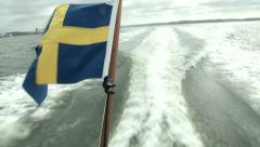 Swedish flag waving on a boat  Stock Footage