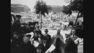 Belgian people standing together post war Stock Footage