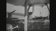 Soldier flying airplane Stock Footage