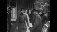 King George and Queen Mary meeting officers Stock Footage