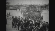 Military troops marching in military camp Stock Footage