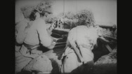 Military soldiers firing with machine gun during war Stock Footage