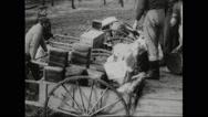 German prisoners loading the wheelbarrow Stock Footage