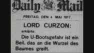 Close-up of British newspaper deploring the u-boat activity Stock Footage