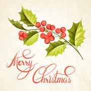 Christmas mistletoe brunch. - stock illustration