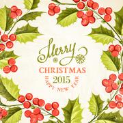 Christmas mistletoe card. - stock illustration