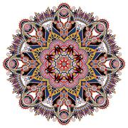 mandala, circle decorative spiritual indian symbol of lotus - stock illustration