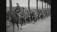 London Irish troop returning to rest camp Stock Footage