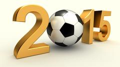 year 2015 with soccer ball - stock illustration