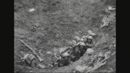 Military soldiers waving from trench Stock Footage