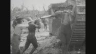 Military soldiers repairing tank Stock Footage